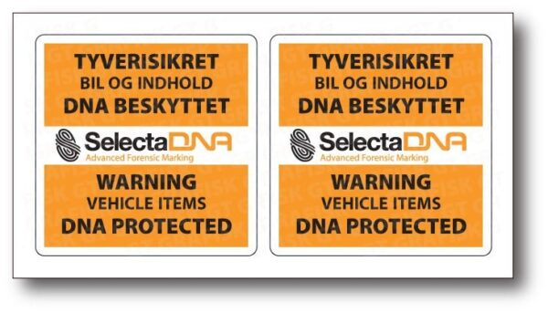 SelectaDNA sikringsmærker til biler og varevogne - DNA mærkning - FindMyGPS