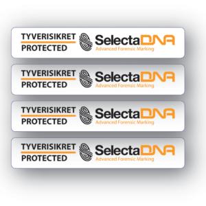 SelectaDNA sikringsmærker til cykel og fritidsudstyrs - DNA mærkning - FindMyGPS