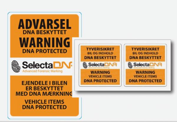 SelectaDNA sikringsmærker til en varebil - Komplet sæt - DNA mærkning - FindMyGPS